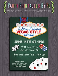 Printable Birthday Party Invitation ~ Las Vegas Birthday Any Age Horizontal~ I125