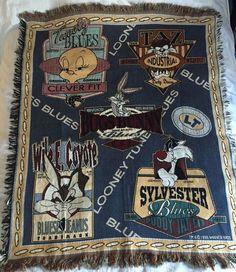1996 Looney Tunes Throw Blanket Bugs Bunny Tweety Tazmanian Devil Sylvester