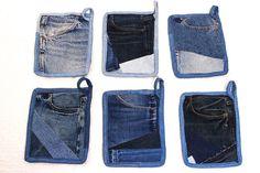 Topflappen hergestellt aus recycelten Jeans Tasche von SilkDenim