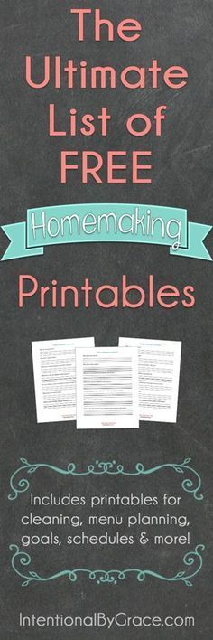 The Ultimate list of FREE homemaking printables. This post has so many free prin. , The Ultimate list of FREE homemaking printables. This post has so many free printables from organizing to menu planning to cleaning to . just check it out! Printable Planner, Free Printables, Free Organizing Printables, Menu Planning Printable, Planning Menu, Financial Planning, Household Binder, Household Notebook, Household Tips