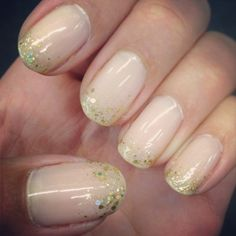 Nude nails with gold sparkles: OPI Bubble Bath (of course) and JulieG Cleopatra's Cobra... love
