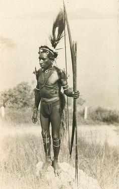 C1915 Ethnic New Guinea RPPC Pygmy w Bow Arrows Papua Port Moresby Photo PC | eBay