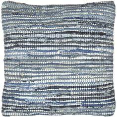 Matador 18-inch Blue Leather/ Denim Throw Pillow | Overstock.com Shopping - The Best Deals on Throw Pillows