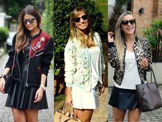 jaqueta bomber-casaquinhos femininos-roupas de frio-Moda feminina-saia de couro-saia preta-jaqueta animal print-saia branca-óculos de sol-relogios femininos-cabelos longos-bolsa grande-acessórios femininos