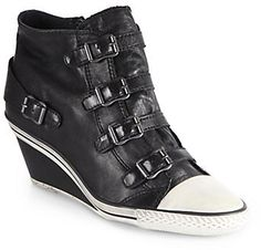 Ash Genial Leather Wedge Sneakers