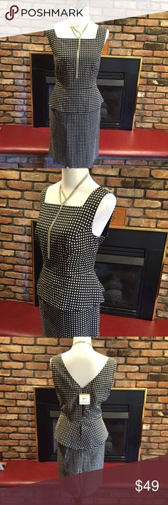 "Anne Klein Peplum Black & White Polka Dot Dress NWT Beautiful Anne Klein Dress in B&W Polka Dots with Peplum detail! Measures 39"" long. Very flattering!! Notice very last pic! When I putting dress on mannequin hook closure snagged one of the thousand dots!! NOT noticeable AT ALL!! However price reflects that.  Anne Klein Dresses"