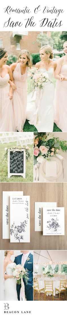 Vintage & Romantic Save the Dates Wedding Inspiration By Beacon Lane