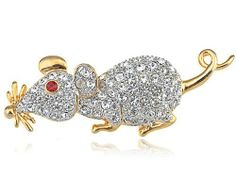 Vintage Inspired Gold Tone Clear Czech Crystal Rhinestone Rat Mouse Pin Brooch Alilang. $9.99. Save 23% Off!