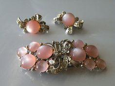Coro Duette Moonstone rhinestone Fur Clips Brooch, clip-on earrings. Set.