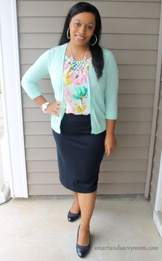 mint cardigan and foral top with navy pencil skirt; modest outfit idea