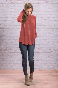 """""""Simply Darling Top, Marsala"""" The name says it all! This top IS simply darling! The scalloped hemline really takes this solid to another level! #newarrivals #shopthemint"""