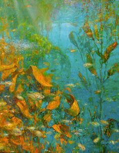 """Oil Painting by David C. Gallup, underwater painting, fish painting, ocean art """"The Liquid Forest"""" - the - the perfect place to and - experience with Shark Painting, Underwater Painting, Underwater Background, Underwater Images, Kelp Forest, Ocean Art, Fish Art, Wildlife Art, Landscape Paintings"""