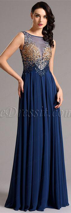 Sleeveless blue beaded gown! #edressit #formaldress #fashion