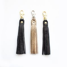 Black Gold Leather Tassel Keychain Gold Leather by gmaloudesigns
