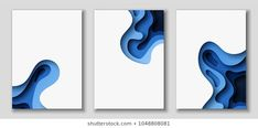 Vertical banners with abstract background with blue paper cut waves. Vector design layout for presentations, flyers, posters Vector Design, Web Design, Layout Design, Creative Design, 3d Paper Art, Paper Artwork, Paper Crafts, Free Banner Templates, Folders