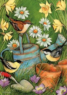 Bird Paintings On Canvas, Diy Canvas Art, Spring Painting, Spring Art, Tole Painting, Diy Painting, Paisley Art, Bird Quilt, Decoupage Vintage