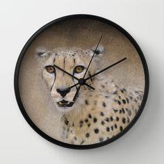 The Cheetah - Wildlife Wall Clock by Jai Johnson - $30.00