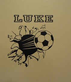 Wall Decal Soccer Ball Through The Wall Football Boys Girls Room Decor Sports Personalized