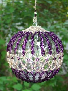 beaded christmas ornaments free patterns by Beaded Ornament Covers, Beaded Ornaments, Holiday Ornaments, Christmas Tree Ornaments, Ornaments Ideas, Christmas Spider, Beaded Christmas Decorations, Purple Christmas, Coastal Christmas