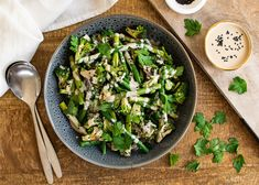 This green vegetable salad works perfectly as is for a light lunch or dinner and is great as a side with your favourite protein too. Asparagus, Broccoli, Salad Works, French Green Beans, Chilli Flakes, Tahini Dressing, Bean Salad, Vegetable Salad, Cooking Time