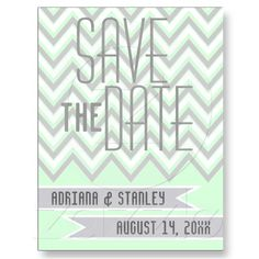 Modern chevron grey, mint wedding Save the Date Postcards