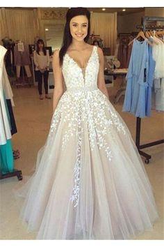 V Neck Long Sexy Prom Dress,A Line Wedding Dresses N01