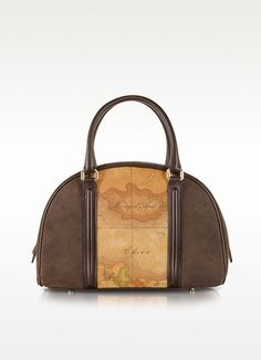 Lady Geo Print Fabric, Dark Brown Suede and Leather Satchel Bag - Alviero Martini 1A Classe