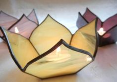 Handmade Stained Glass Lotus Votive Candle Holder