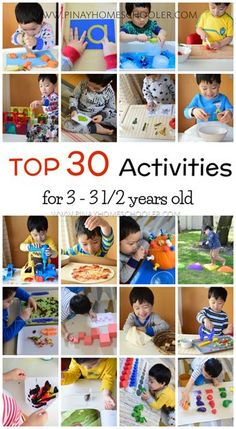 Top 30 activities for 3 year olds - fine motor, science, large motor, more! # home activities for 3 year olds 3 Year Old Preschool, Activities For 5 Year Olds, Crafts For 3 Year Olds, Preschool Learning Activities, Infant Activities, Preschool Activities, Kids Learning, 3 Year Old Craft, Family Activities