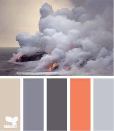 color ideas (coral colored accent piece)