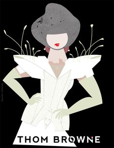 Thom Browne, Spring Summer 2014, By Lauren Rolwing  #fashionIllustration #illustration #ThomBrowne #Halloween