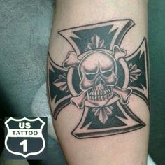 Kevin came by and got his custom Maltese cross and skull tattoo