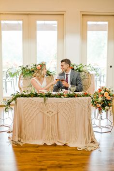 We are loving this sweetheart table complete with rattan chairs, macramé runner and gorgeous blooms.  Venue: potomacpointwinery Photographers: kassielayne, aliraehaney   Styled Shoot Coordinator: klaynestyled Gown: avalaurennebride Florist: bergeronsflower Beauty: evergreen.beauty & magnificent_mane17 Rentals: smthingvintage, dcreventrentals & paisleyandjade Wedding Scene, Boho Wedding, Wedding Chairs, Wedding Table, Sweetheart Table Backdrop, Bride Groom Table, Boho Gown, Bohemian Wedding Inspiration, Tuscan Style