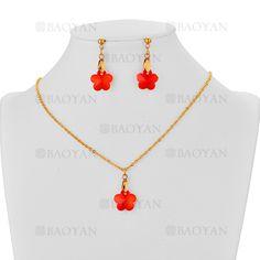 juego collar y aretes de flor cristal blanco en acero dorado inoxidable -SSNEG183398