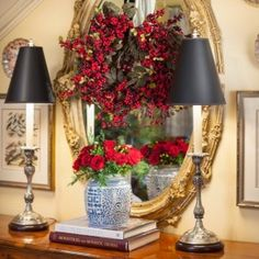 Brass Mirror, Candlestick Lamps, Flowers in Blue and White, Books ~ These are a few of my favorite things!