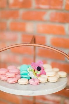 Bridal shower dessert idea - mini, colorful macaroons {Michelle Able Photography}