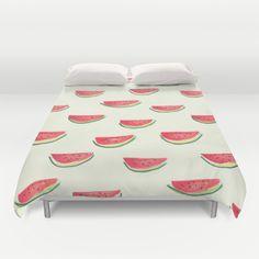 Watercolor Watermelon Duvet Cover by Jacqueline Maldonado - $99.00