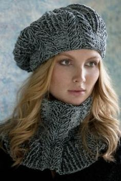 Cabled cowl and beret - free knitting pattern - wooooow!!!.