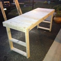 Easy, Cheap Folding Workbench! (On Instructables.com - could be adapted for a cutting/sewing table perhaps?)