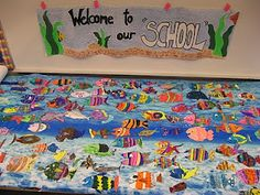 """beginning of the year?  Staff and students PK-5th grade have been working hard on our 1st school-wide art project called """"Welcome to our School!"""" Each person has designed a fish for our school group and has focused on an art element (lines, colors, patterns, shapes etc.) to decorate it with. Be on the lookout for a beautiful underwater ocean of fish in our hallways!"""