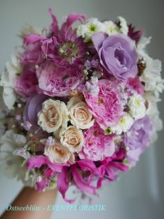 Brautstrauß creme, rosè, lila
