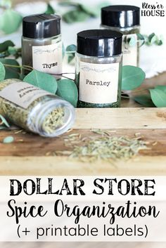 Dollar Store Spice Organization and Printable Labels | blesserhouse.com - How to organize a spice drawer with items from the dollar store. #spices #organization