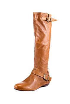Buckled Flat Leather Boot.