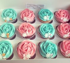 Rose frosted cupcakes, selection of colours
