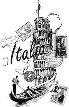 Italy stamp by dragonflybuzz Black And White Prints, Vintage Travel Posters, Vintage Images, Coloring Books, Clip Art, Doodles, Drawings, Cards, Pictures
