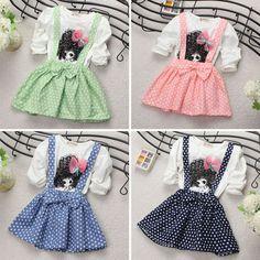 Sale 20% (9.58$) - New Baby Kids Girl Cotton Long Sleeve Polka Dots Party Princess Dress