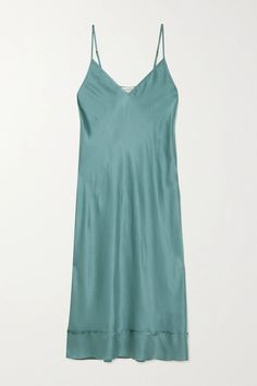Lee Mathews' 'Stella' dress is cut from lustrous silk-satin that drapes languidly over your frame. Dyed a beautiful teal hue, it has adjustable pin-thin straps and a seamed midi hem. Wear it with strappy sandals - think pale-pink or neutral - for weddings, layering it over a white T-shirt and switching to sneakers for more casual occasions.Wear it with: [The Row Shoulder bag id1240275], [ATP Atelier Sandals id1205751]. Satin Slip, Silk Satin, Dress Outfits, Fashion Dresses, Satin Midi Dress, Fashion Advice, Get Dressed, Hue, Teal