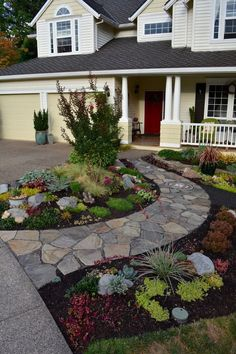 Replacing a front lawn with a front garden: The Pecks - oregonlive.com Cheap Landscaping Ideas For Front Yard, Home Landscaping, Landscaping Contractors, Backyard Ideas, Landscaping Software, Garden Ideas For Front Yard, Front Walkway Landscaping, Sidewalk Landscaping, Flagstone Pathway