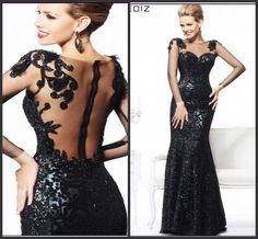 Wholesale Evening Dresses - Buy 2014 Sexy Long Sleeve Black Mermaid Evening Dress For Women Formal Gown with Backless And Lace Details Gift: Necklace HY-73, $97.48 | DHgate