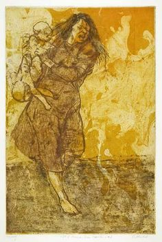 "Running Mother with Falling Baby or ""Gift of America Series, Napalm #2"" by Sigmund Abeles (soft ground, color etching printed in 1966)."